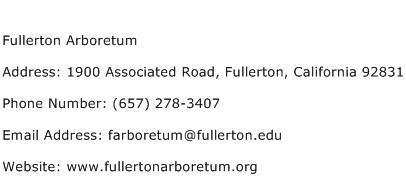 Fullerton Arboretum Address Contact Number