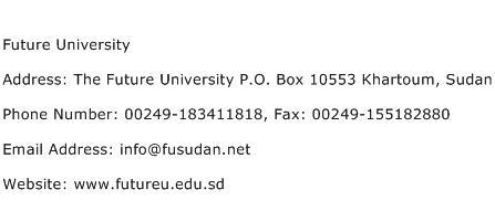 Future University Address Contact Number