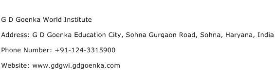 G D Goenka World Institute Address Contact Number