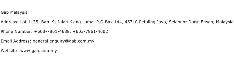 Gab Malaysia Address Contact Number