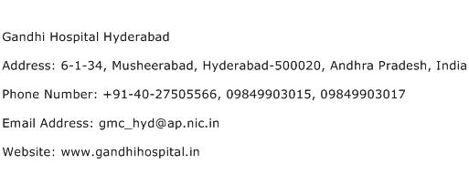 Gandhi Hospital Hyderabad Address Contact Number