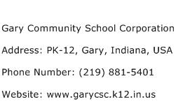 Gary Community School Corporation Address Contact Number