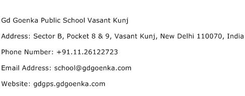Gd Goenka Public School Vasant Kunj Address Contact Number