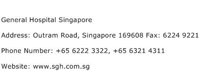 General Hospital Singapore Address Contact Number