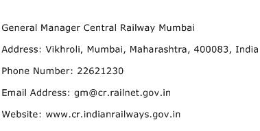 General Manager Central Railway Mumbai Address Contact Number