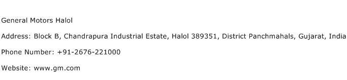 General Motors Halol Address Contact Number