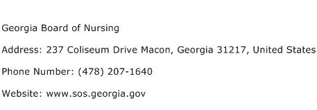 Georgia Board of Nursing Address Contact Number