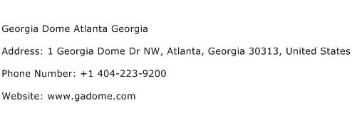 Georgia Dome Atlanta Georgia Address Contact Number