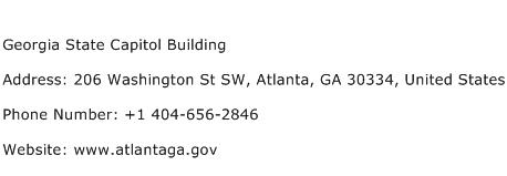 Georgia State Capitol Building Address Contact Number