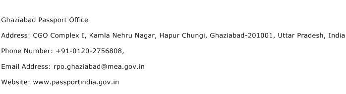 Ghaziabad Passport Office Address Contact Number