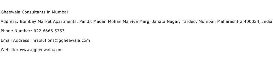 Gheewala Consultants in Mumbai Address Contact Number