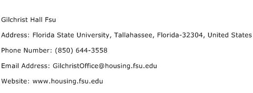 Gilchrist Hall Fsu Address Contact Number