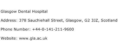 Glasgow Dental Hospital Address Contact Number