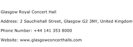 Glasgow Royal Concert Hall Address Contact Number