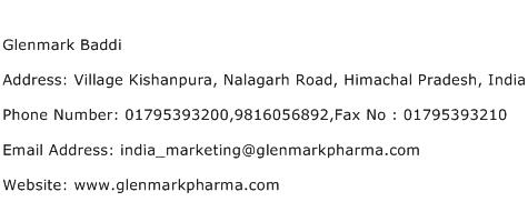 Glenmark Baddi Address Contact Number