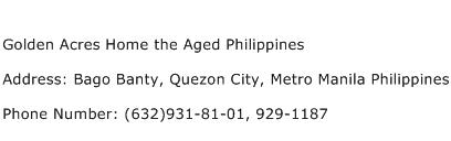 Golden Acres Home the Aged Philippines Address Contact Number