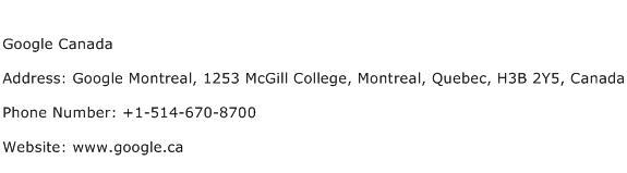 Google Canada Address Contact Number