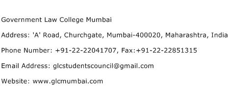 Government Law College Mumbai Address Contact Number