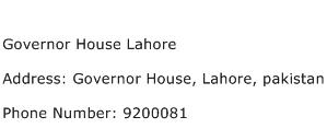 Governor House Lahore Address Contact Number