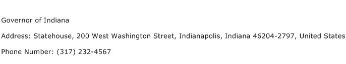 Governor of Indiana Address Contact Number