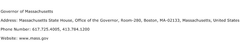 Governor of Massachusetts Address Contact Number
