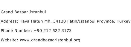 Grand Bazaar Istanbul Address Contact Number