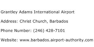 Grantley Adams International Airport Address Contact Number