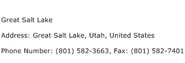 Great Salt Lake Address Contact Number
