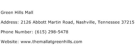 Green Hills Mall Address Contact Number