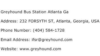 Greyhound Bus Station Atlanta Ga Address Contact Number