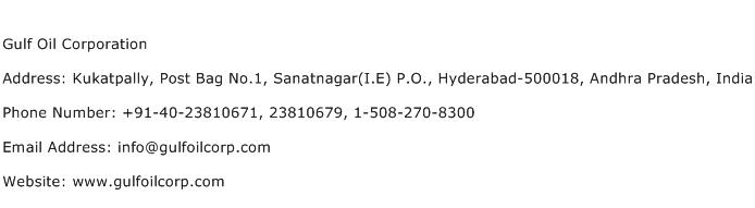 Gulf Oil Corporation Address Contact Number