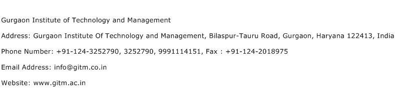 Gurgaon Institute of Technology and Management Address Contact Number