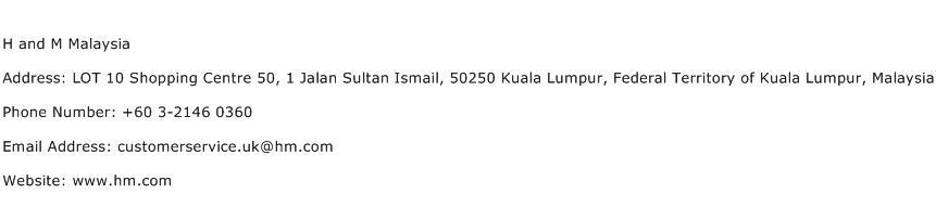H and M Malaysia Address Contact Number