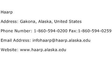 Haarp Address Contact Number