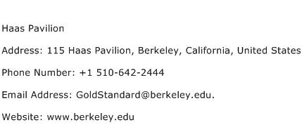 Haas Pavilion Address Contact Number