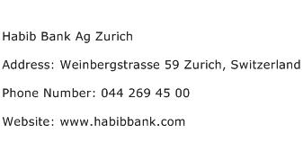 Habib Bank Ag Zurich Address Contact Number