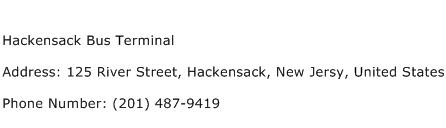 Hackensack Bus Terminal Address Contact Number