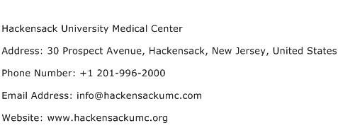 Hackensack University Medical Center Address Contact Number