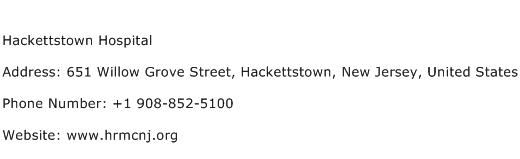 Hackettstown Hospital Address Contact Number