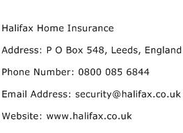 Halifax Home Insurance Address Contact Number