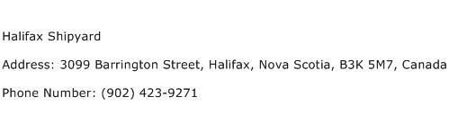 Halifax Shipyard Address Contact Number