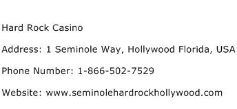Hard Rock Casino Address Contact Number