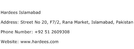 Hardees Islamabad Address Contact Number