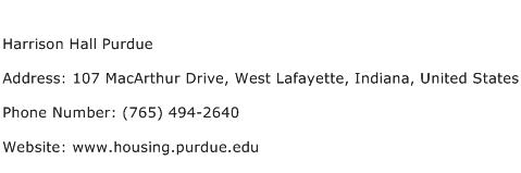 Harrison Hall Purdue Address Contact Number