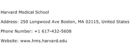 Harvard Medical School Address Contact Number