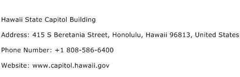 Hawaii State Capitol Building Address Contact Number
