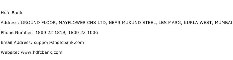 Hdfc Bank Address Contact Number