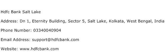 Hdfc Bank Salt Lake Address Contact Number
