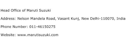 Head Office of Maruti Suzuki Address Contact Number
