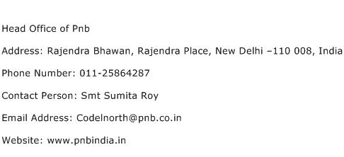 Head Office of Pnb Address Contact Number